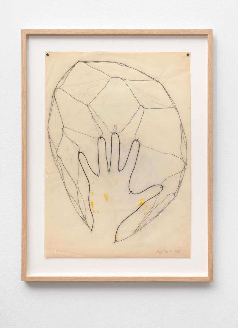 Udo Koch Hand 1988 pencil on transparent paper 415 x 295 cm 51 x 385 cm framed